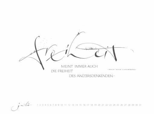 freiheit des andersdenkenden kalligrafie