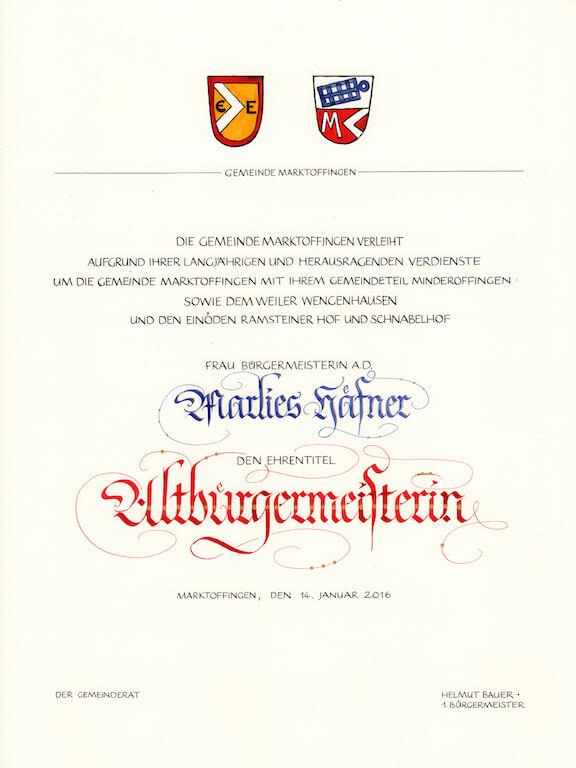Marktoffingen Altbuergermeister Urkunde Kopie