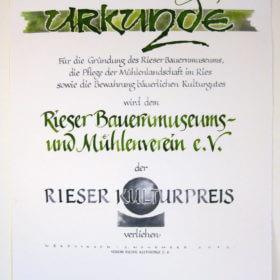 RKT RieserBauernmuseum Urkunde