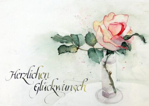 Glückwunschkarte Kalligrafie und Aquarell